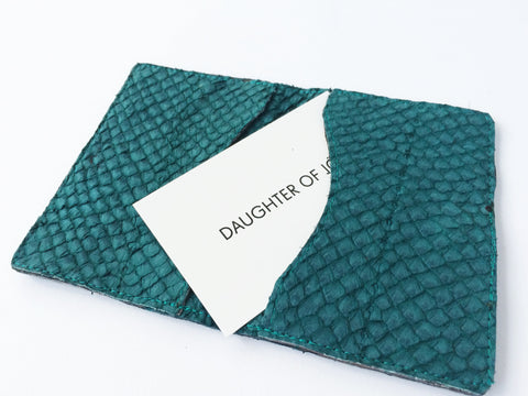 SEA GREEN FISH LEATHER CARDHOLDER