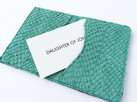 TURQUOISE FISH LEATHER CARDHOLDER