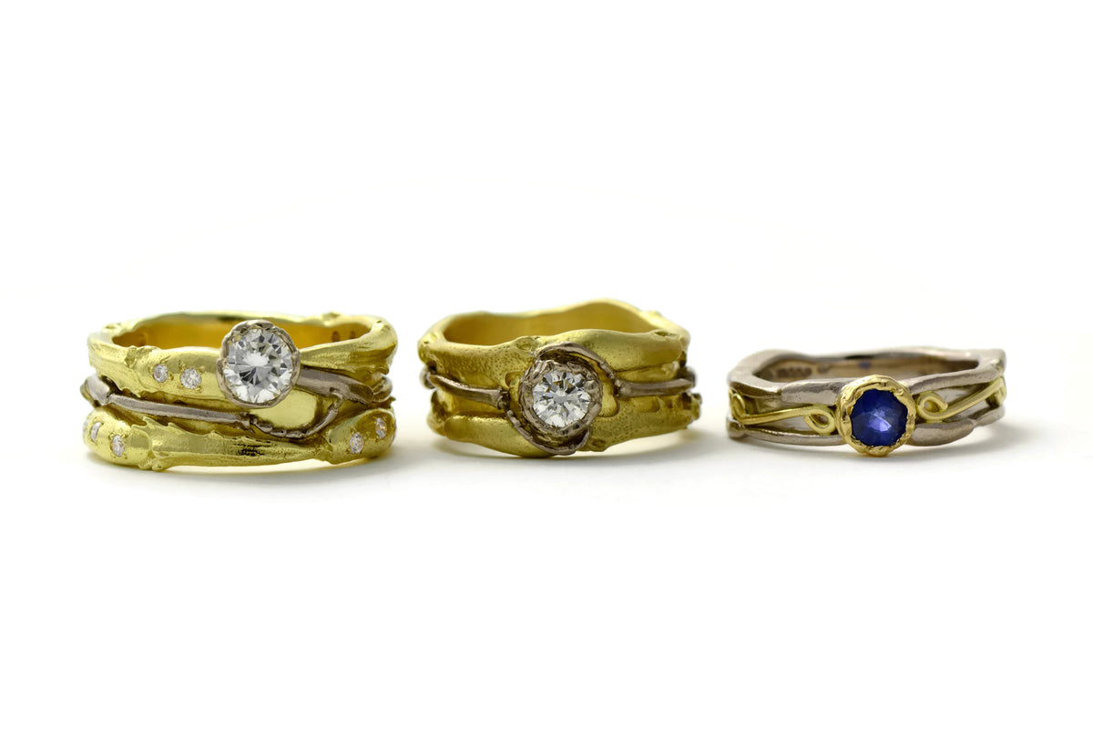 Gold rings , diamond and sapphire rings