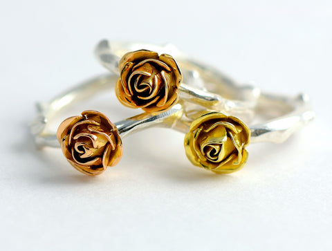 red and yellow ecogold roses ring, gold rose ring
