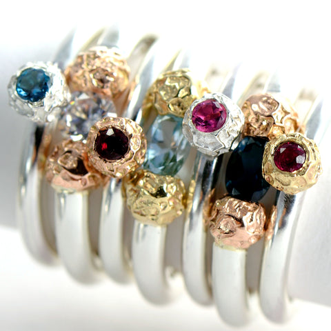 ecogold rings, red ecogold,, silver and ecogold