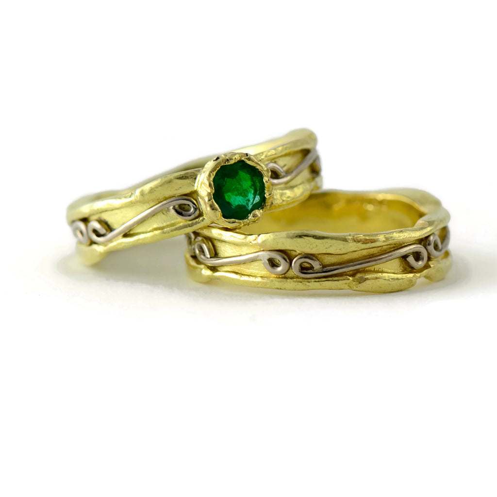 emerald 18ct yellow and white gold rings - wedding rings set