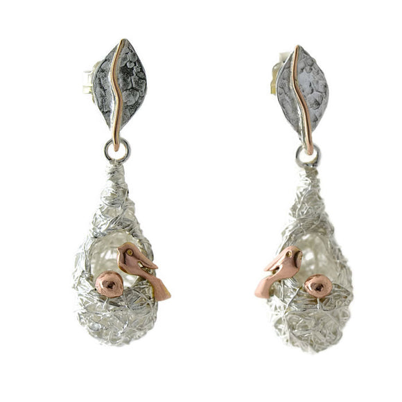 18 ct solid gold birds and silver nest earrings