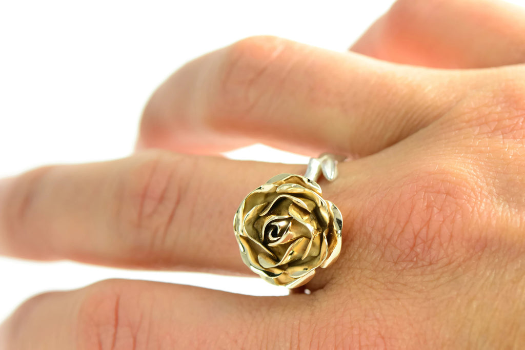 Eco-gold and silver cocktail rose ring (RRM01)