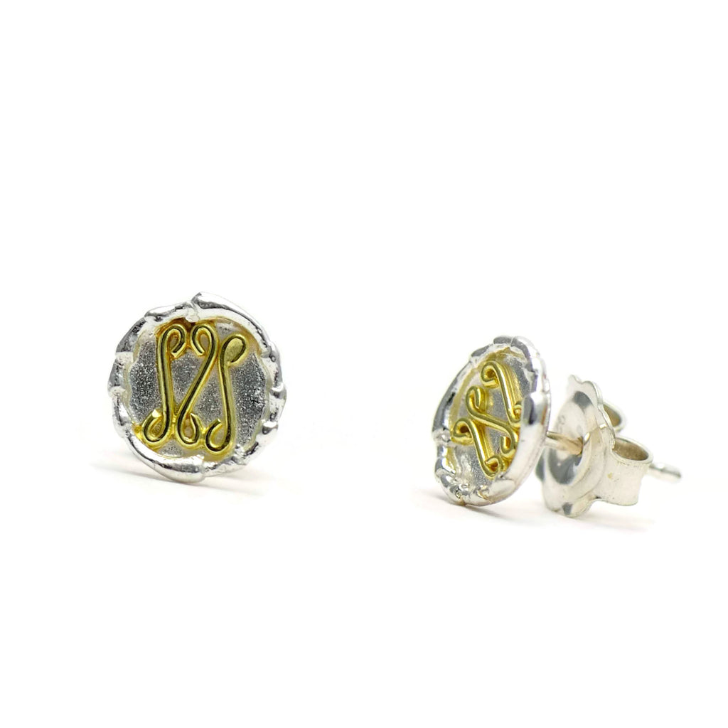 18ct gold and silver petite patterned circlee stud earrings, geometrical designs