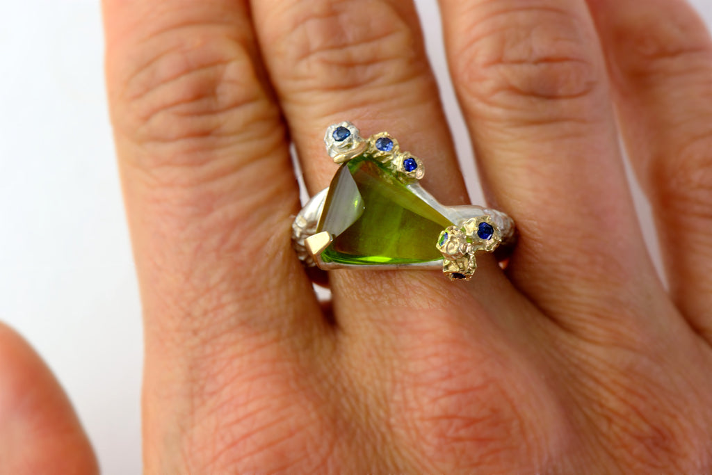 Peridot cocktail ring - one of a kind ring design