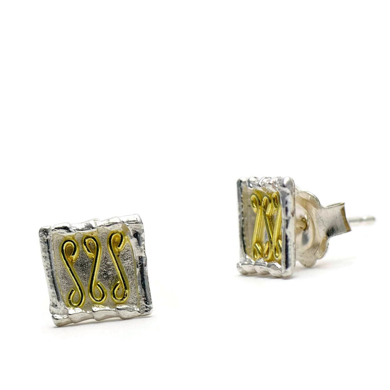 18ct gold and silver petite patterned square stud earrings, geometrical designs