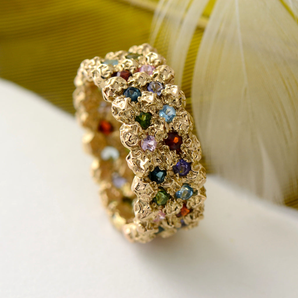 rainbow ring in solid gold