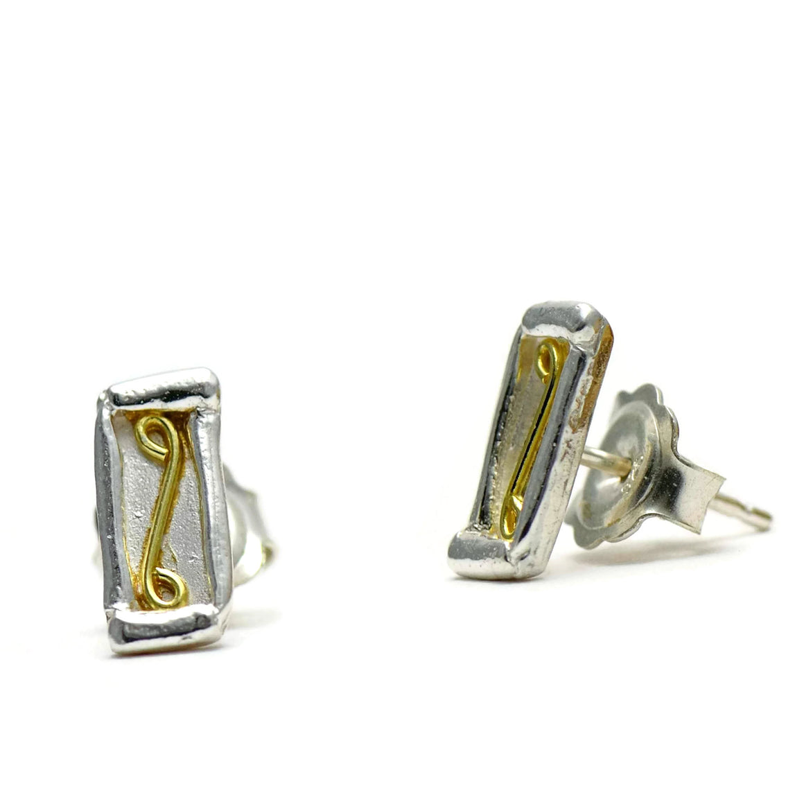 18ct gold and silver petite patterned rectangle stud earrings, geometrical designs