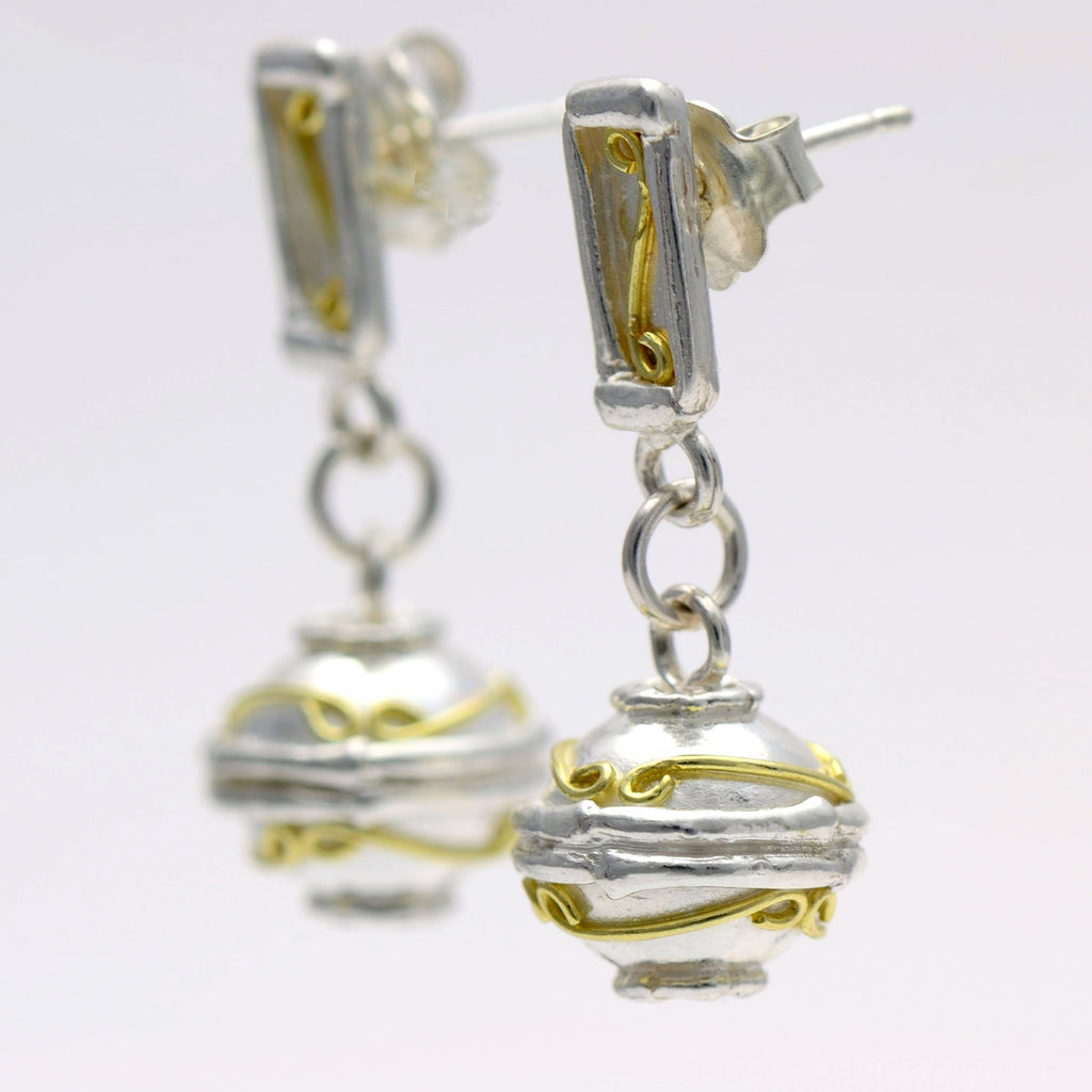 18ct gold and silver patterned 3D sphere hanging earrings, geometrical designs