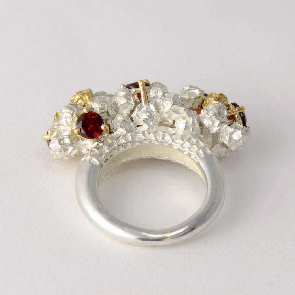 Garnet cluster cocktail ring - one of a kind solid gold and silver peppercorn ring design