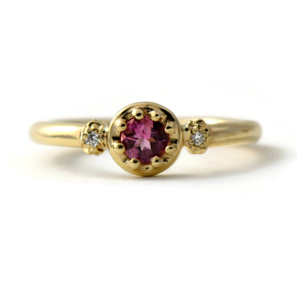 three gemstone ring with pink tourmaline and diamonds