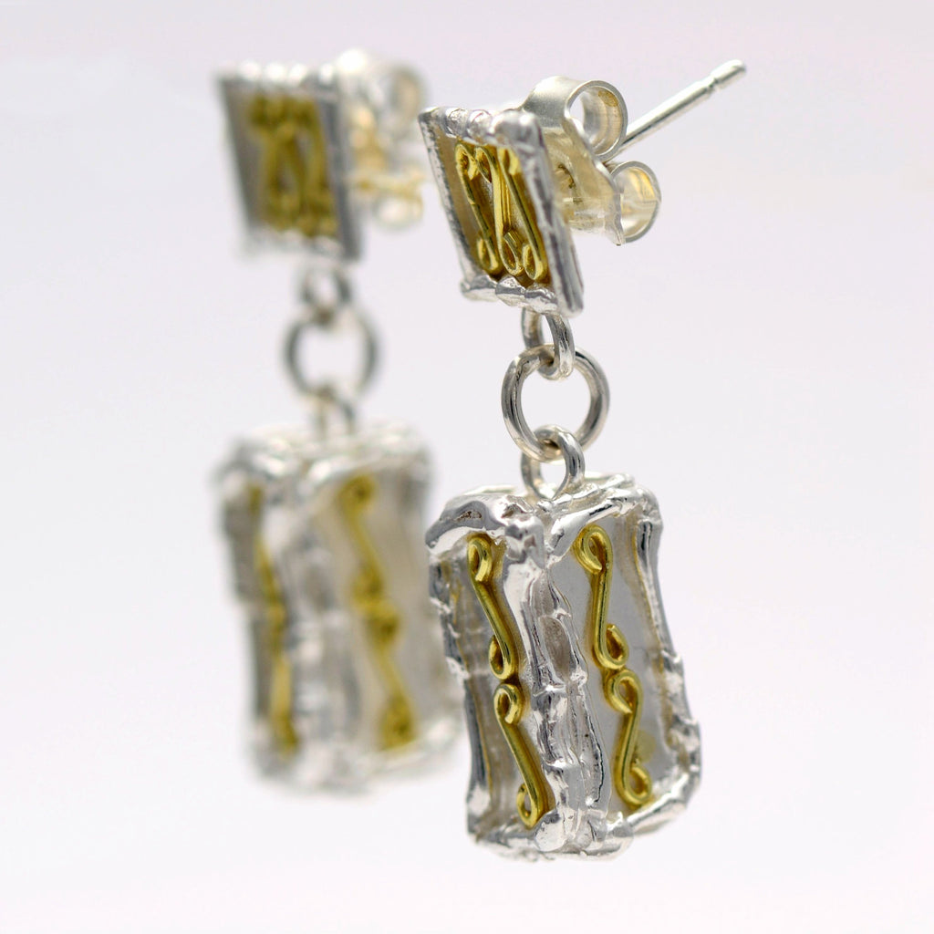 18ct gold and silver patterned large 3D rectangle hanging earrings, geometrical designs