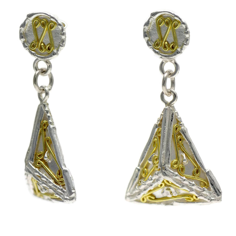 18ct gold and silver patterned 3D triangle hanging earrings, geometrical designs