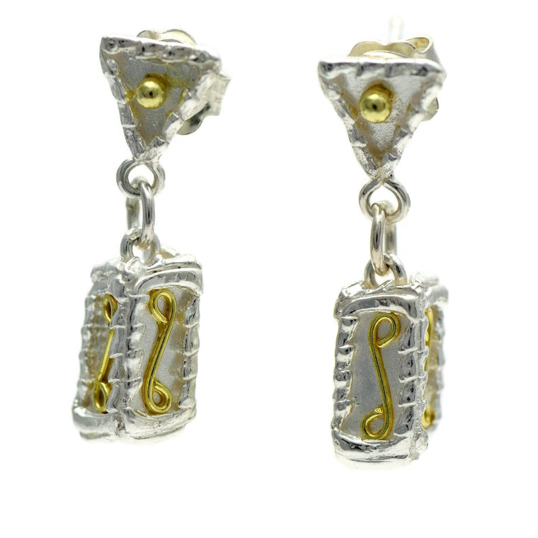 18ct gold and silver petitte patterned 3D rectangle hanging earrings, geometrical designs