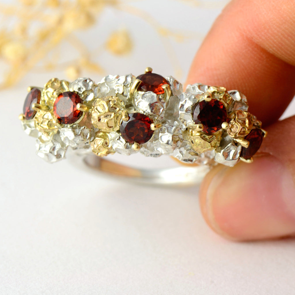 cocktail red garnet ring