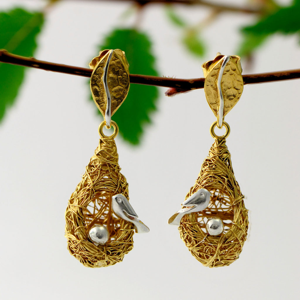 birds nest gold earrings