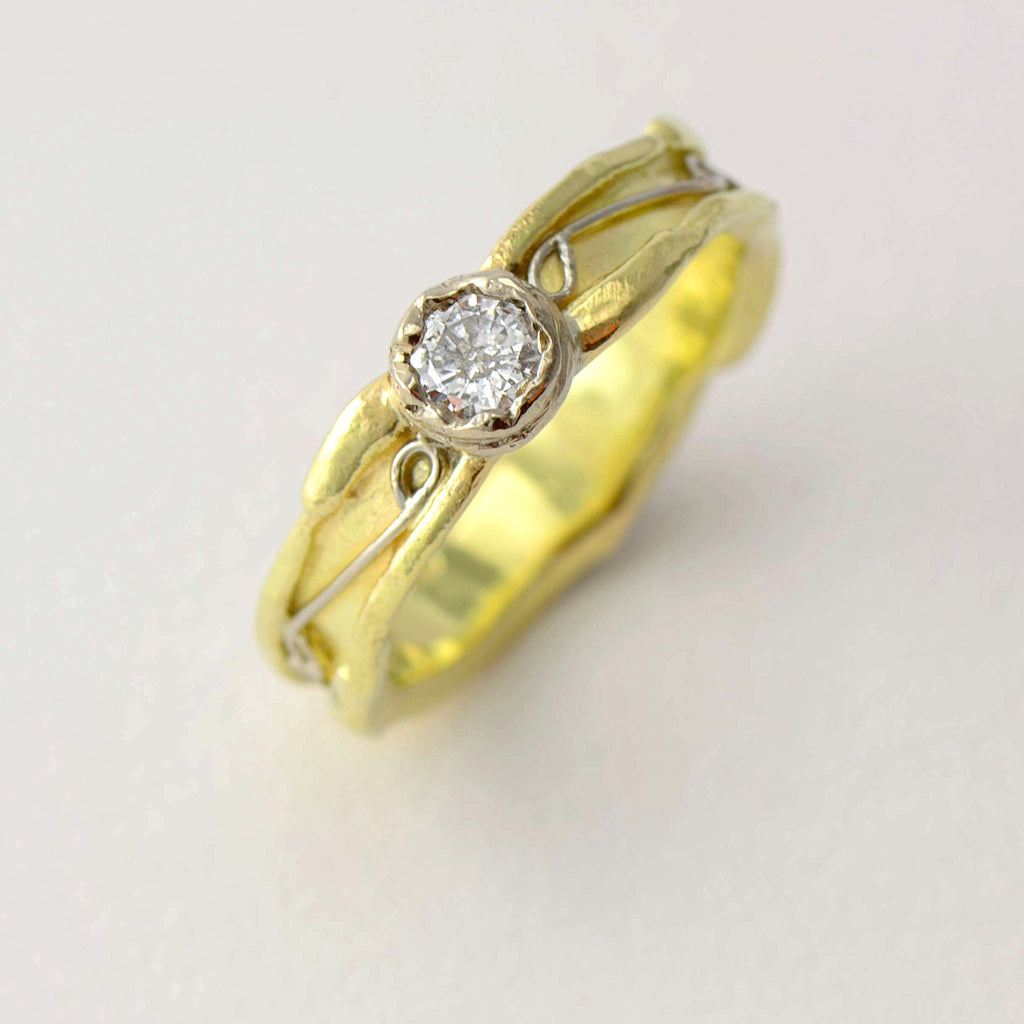 rustic solitaire diamond ring