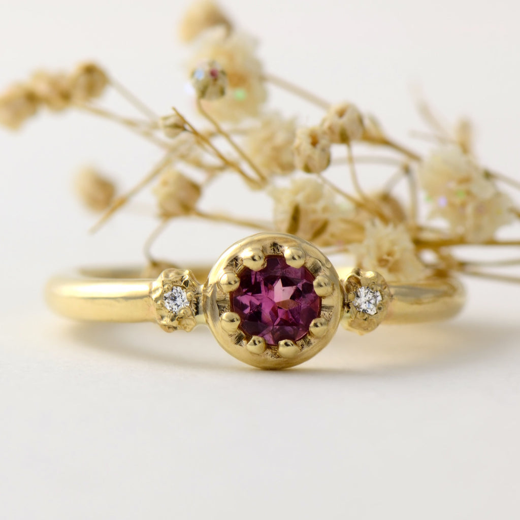 fairtrade gold ring in pink tourmaline and diamond