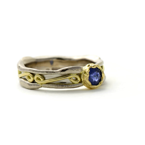 sapphire, white and yellow gold ring unique engagement ring