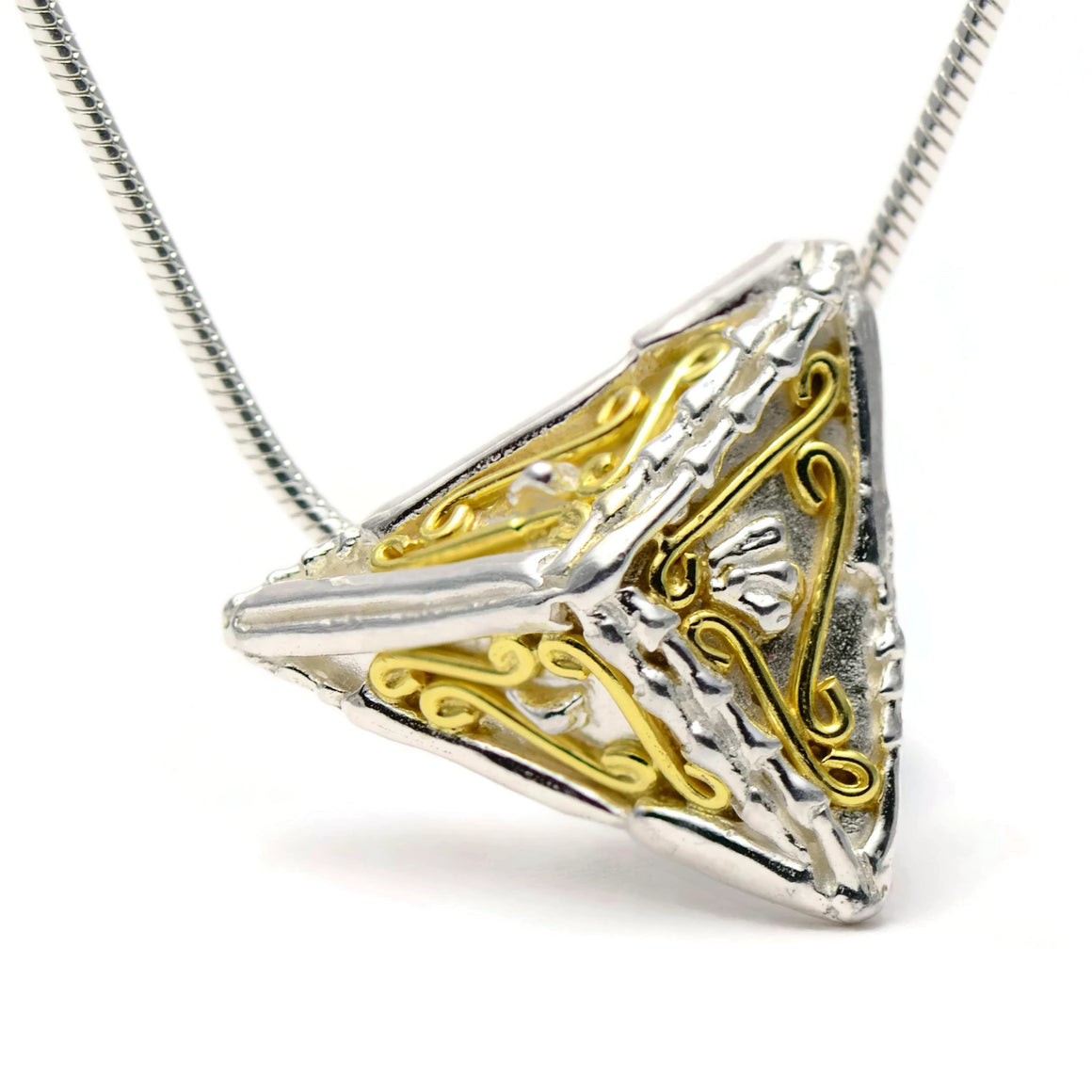 18ct gold and silver small 3D triangle pendant design, geometric jewellery