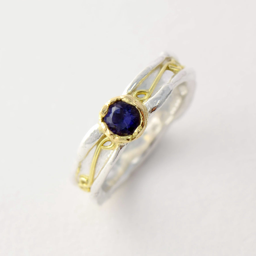 Iolite silver and gold ring