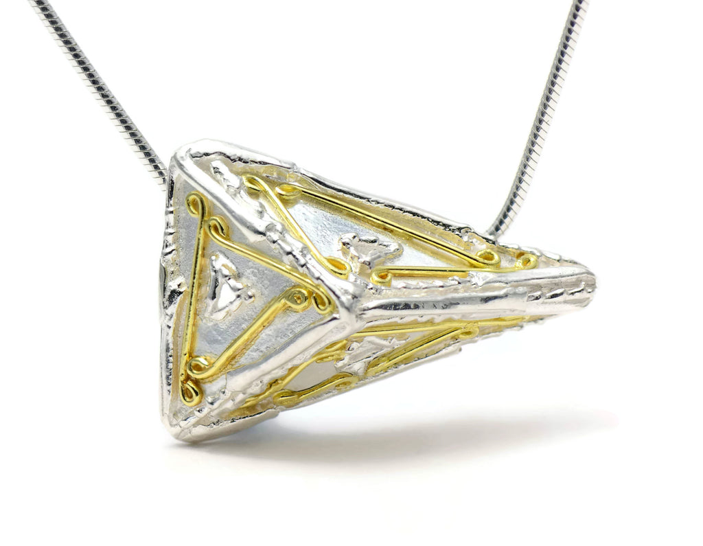 18ct eco-gold and silver large decorated triangle pendant, geometric jewellery