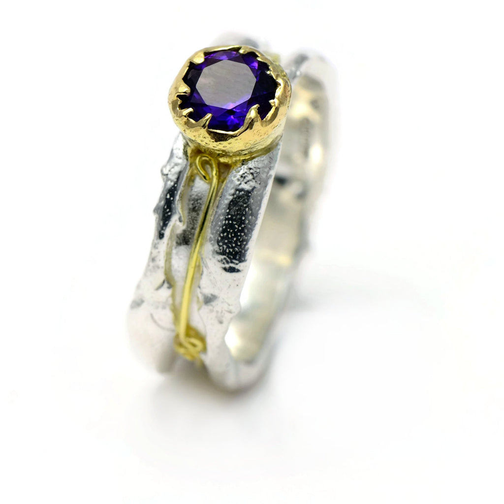 Amethyst ring 18 ct yellow gold and silver