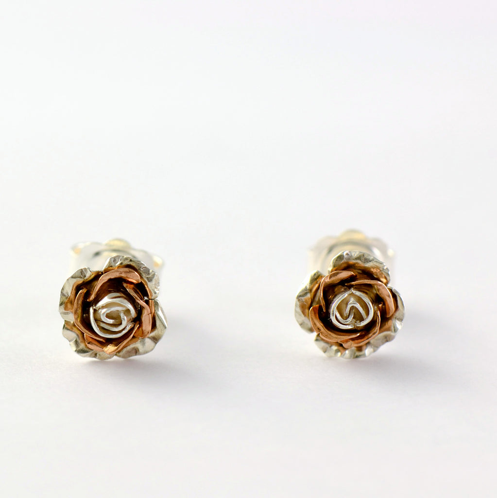 tiny rose stud earrings