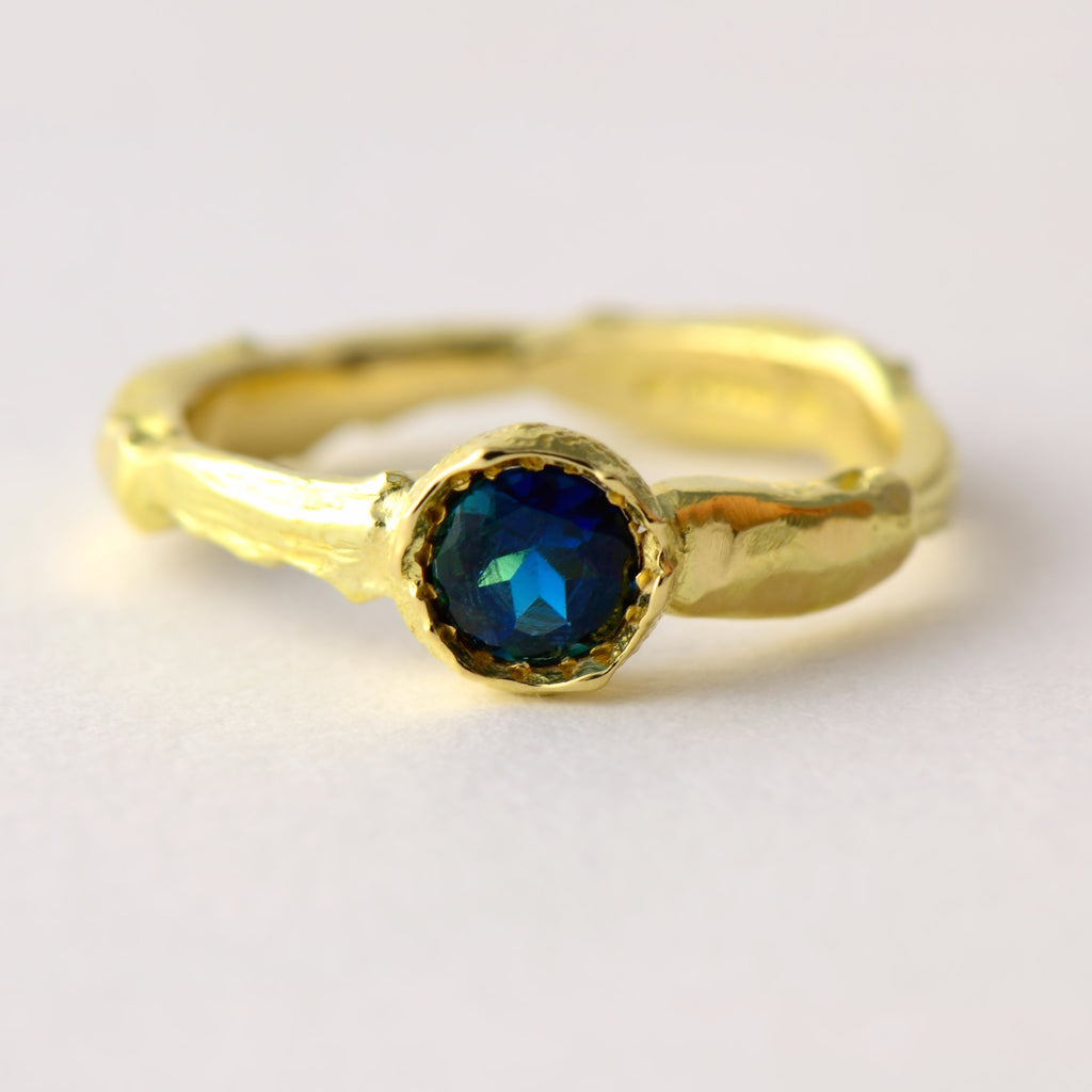 Ethical gold ring with blue tourmaline