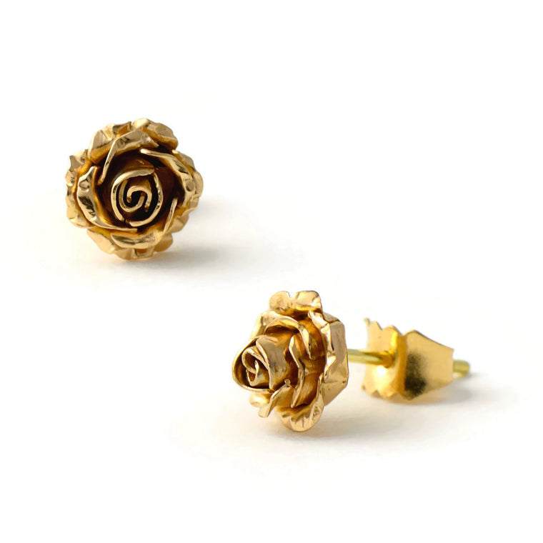 Tiny rose stud earrings made in solid gold