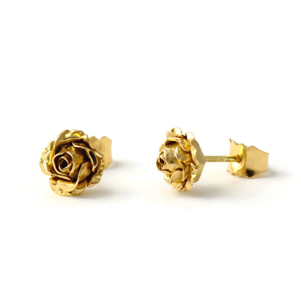 18ct eco-gold petite rose stud earrings