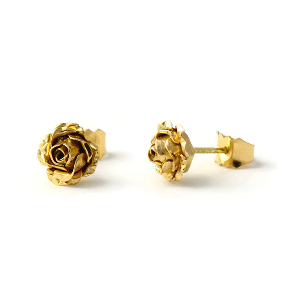 18ct gold rose stud earrings - solid gold stud earrings
