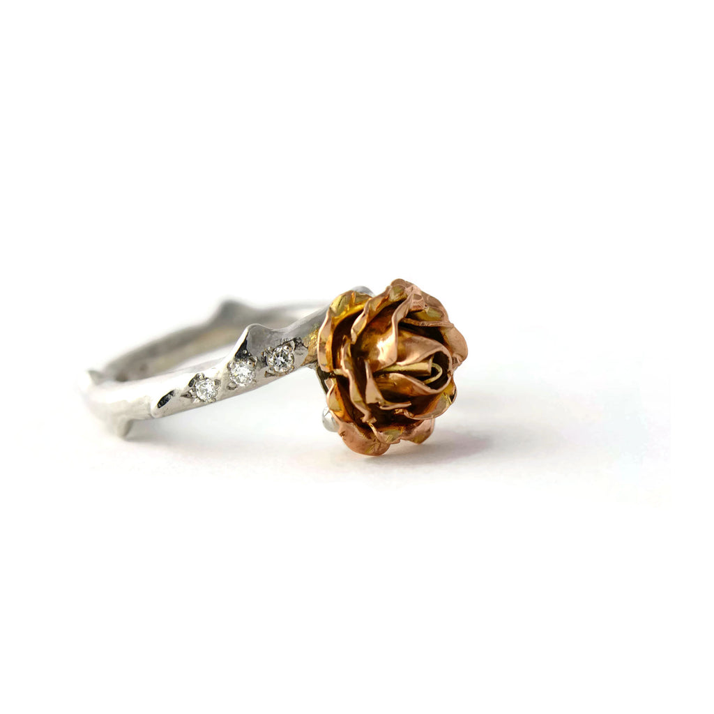 9ct red and white gold rose ring set with diamonds
