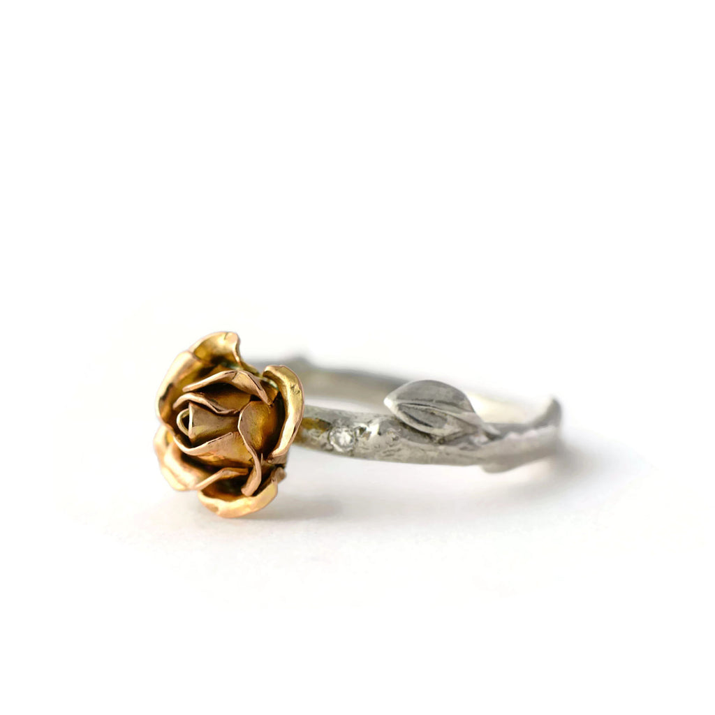 Rose ring with tiny diamonds made with rose and white gold - engagement rose ring