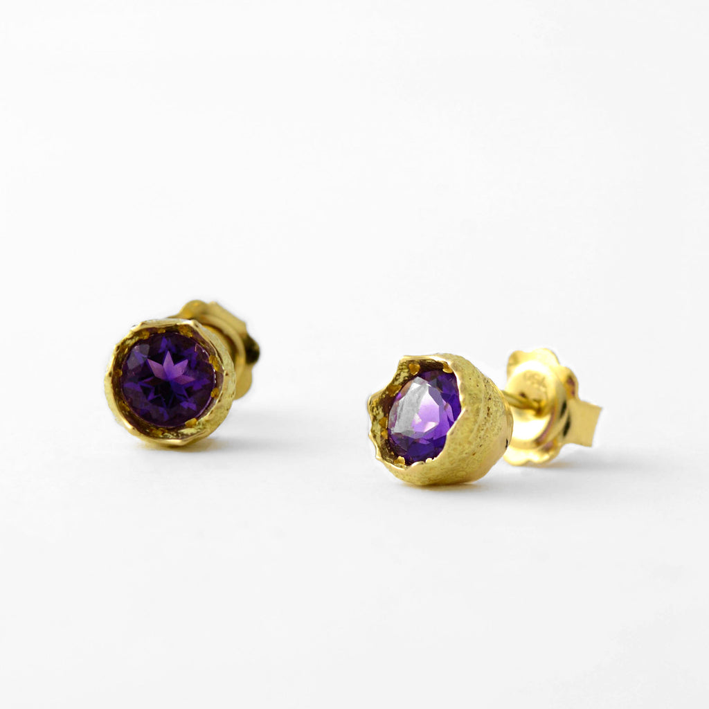 solid gold Amethyst stud earrings