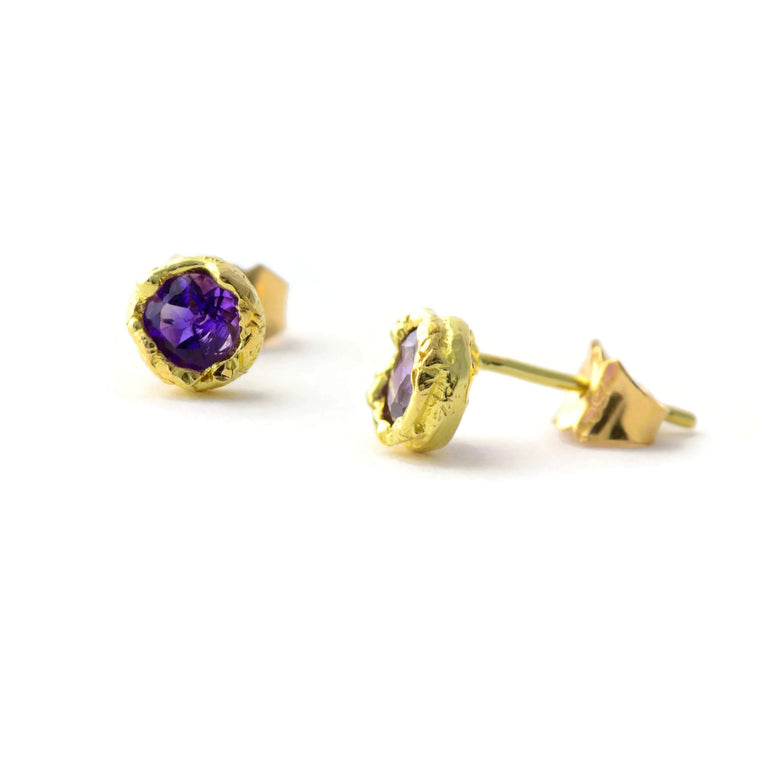 Amethyst and 18ct yellow gold stud earrings