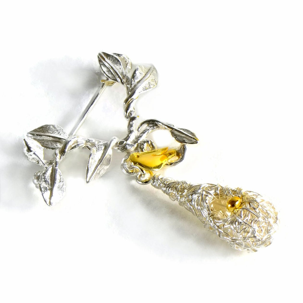 Amazon bird nest brooch with golden bird and nest eggs
