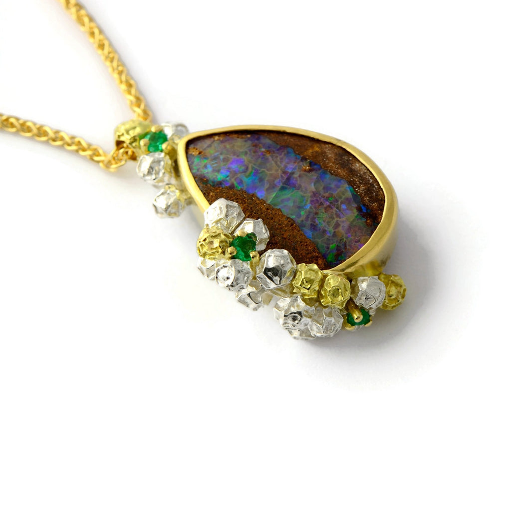 Opal, emerald, gold and silver necklace