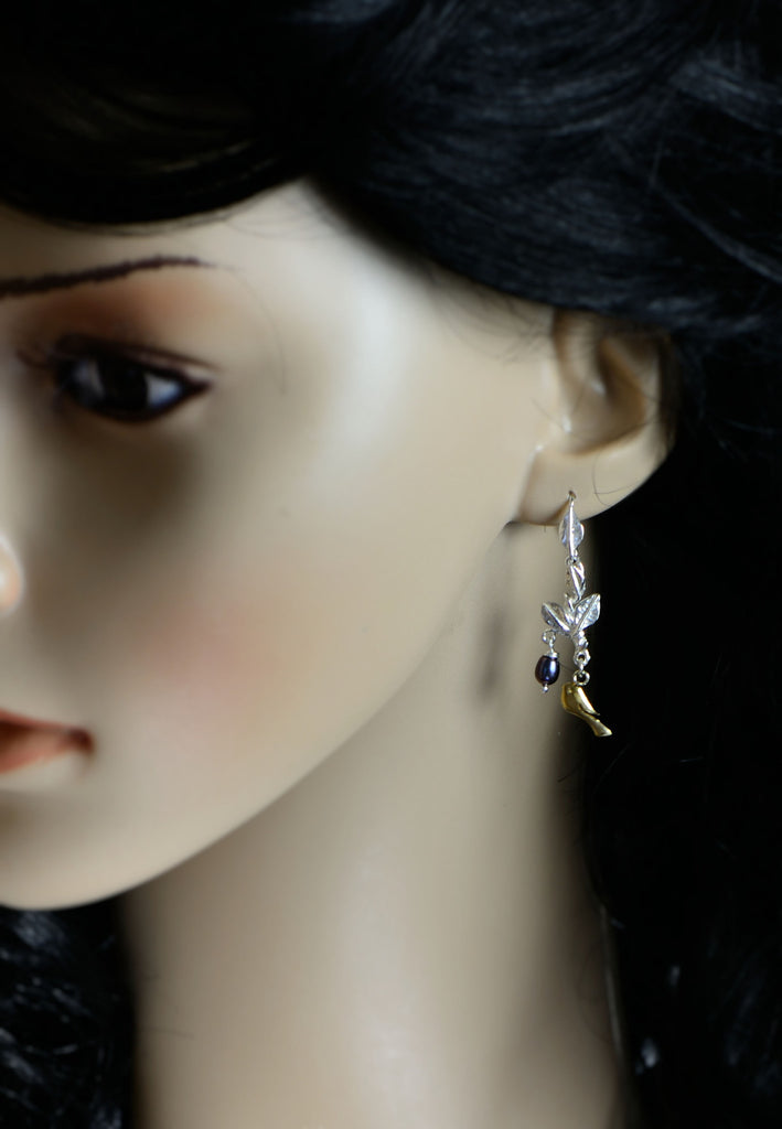 Pearls and Golden Bird Earrings