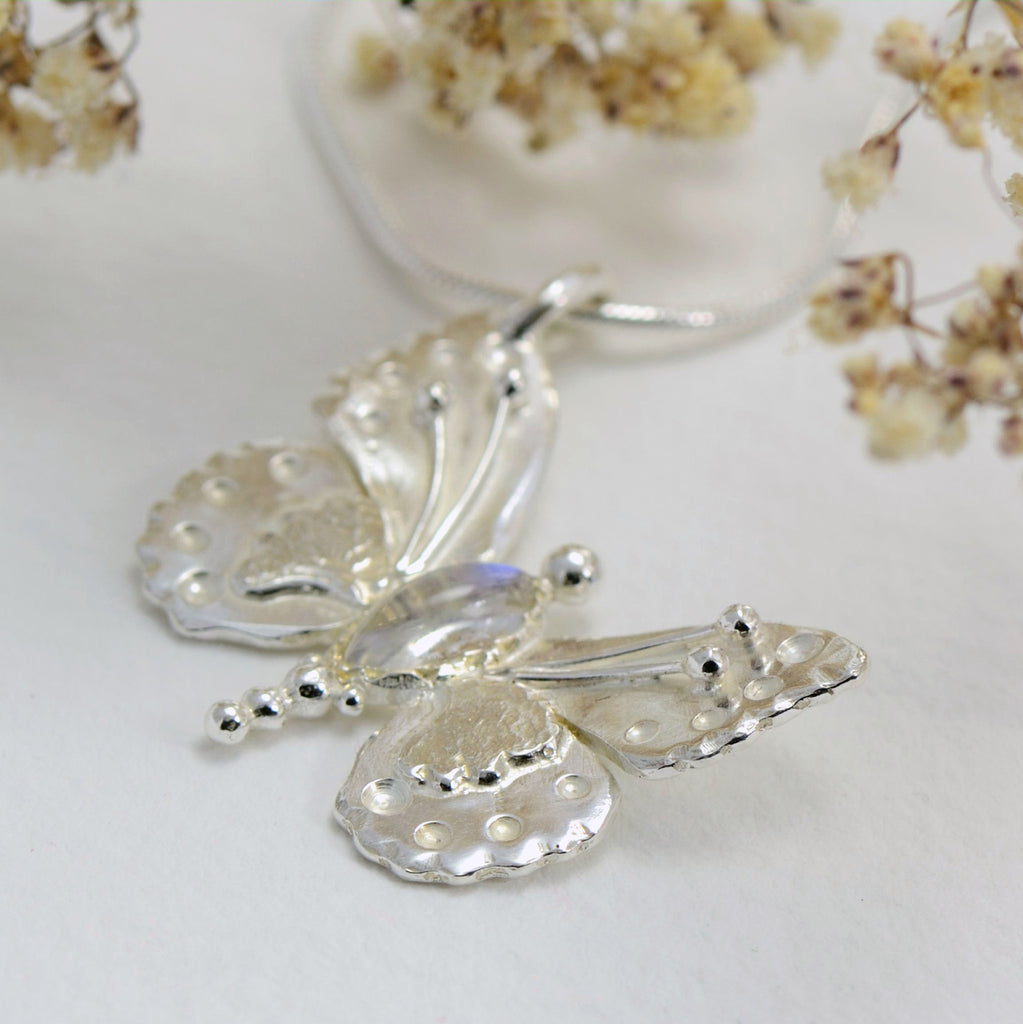 handmade, sterling silver, moonstone butterfly