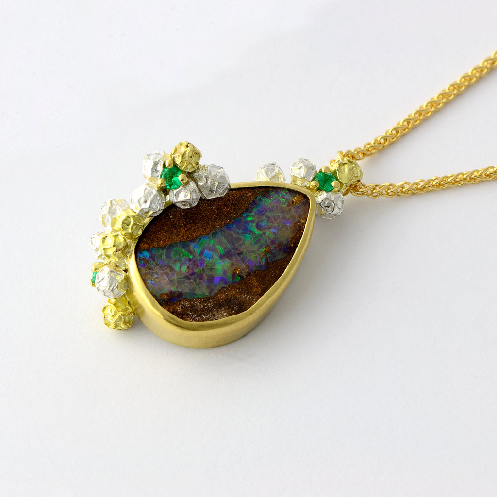 unique  Australian opal necklace