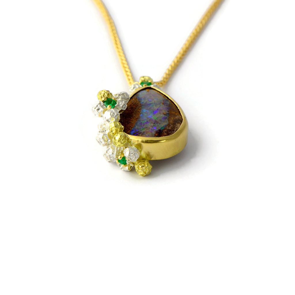 Solid gold  opal pendant