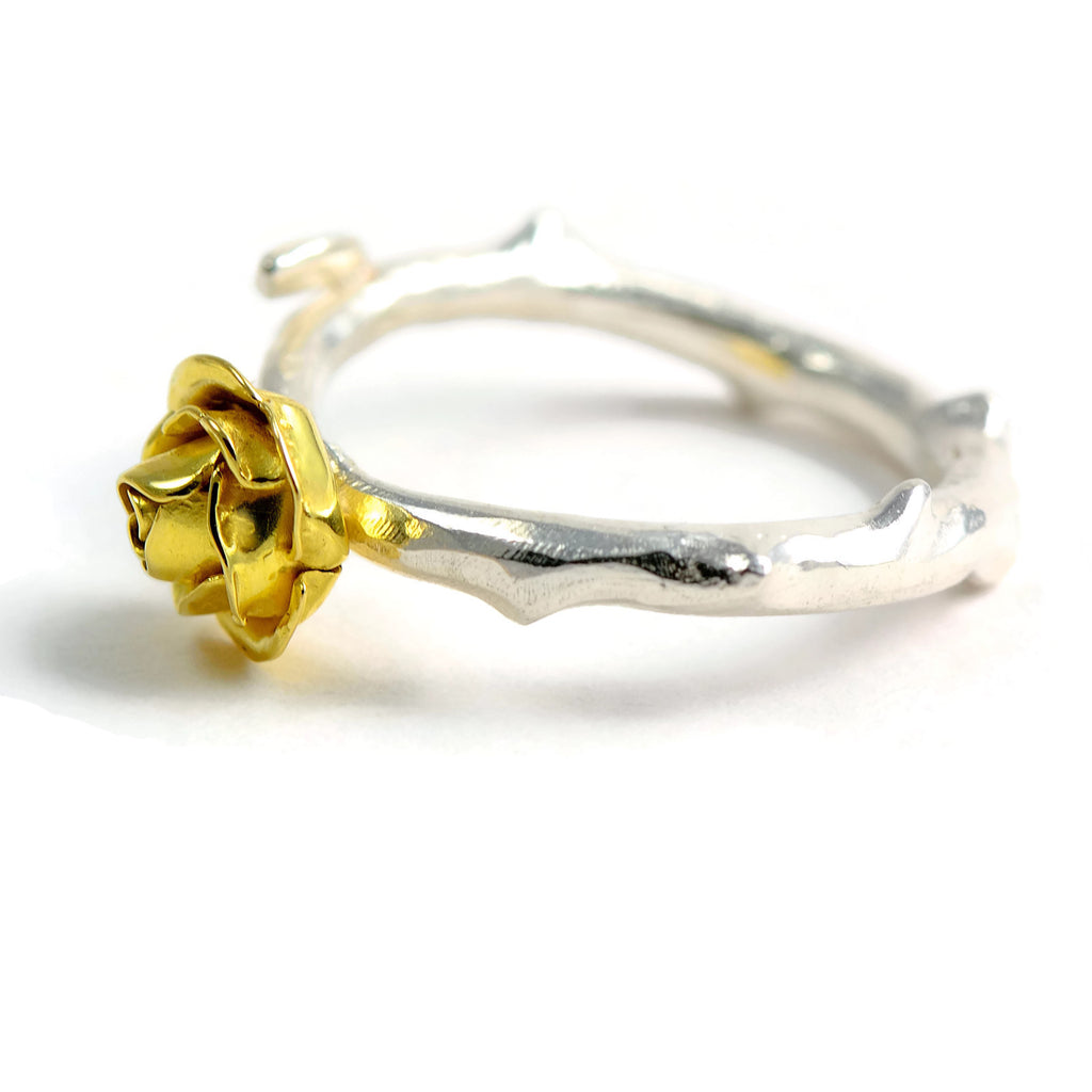 yellow rose ring  in gold and silver