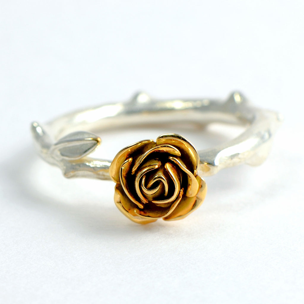 Red rose ring - 9 carat rose gold rose ring with a silver rose stem band