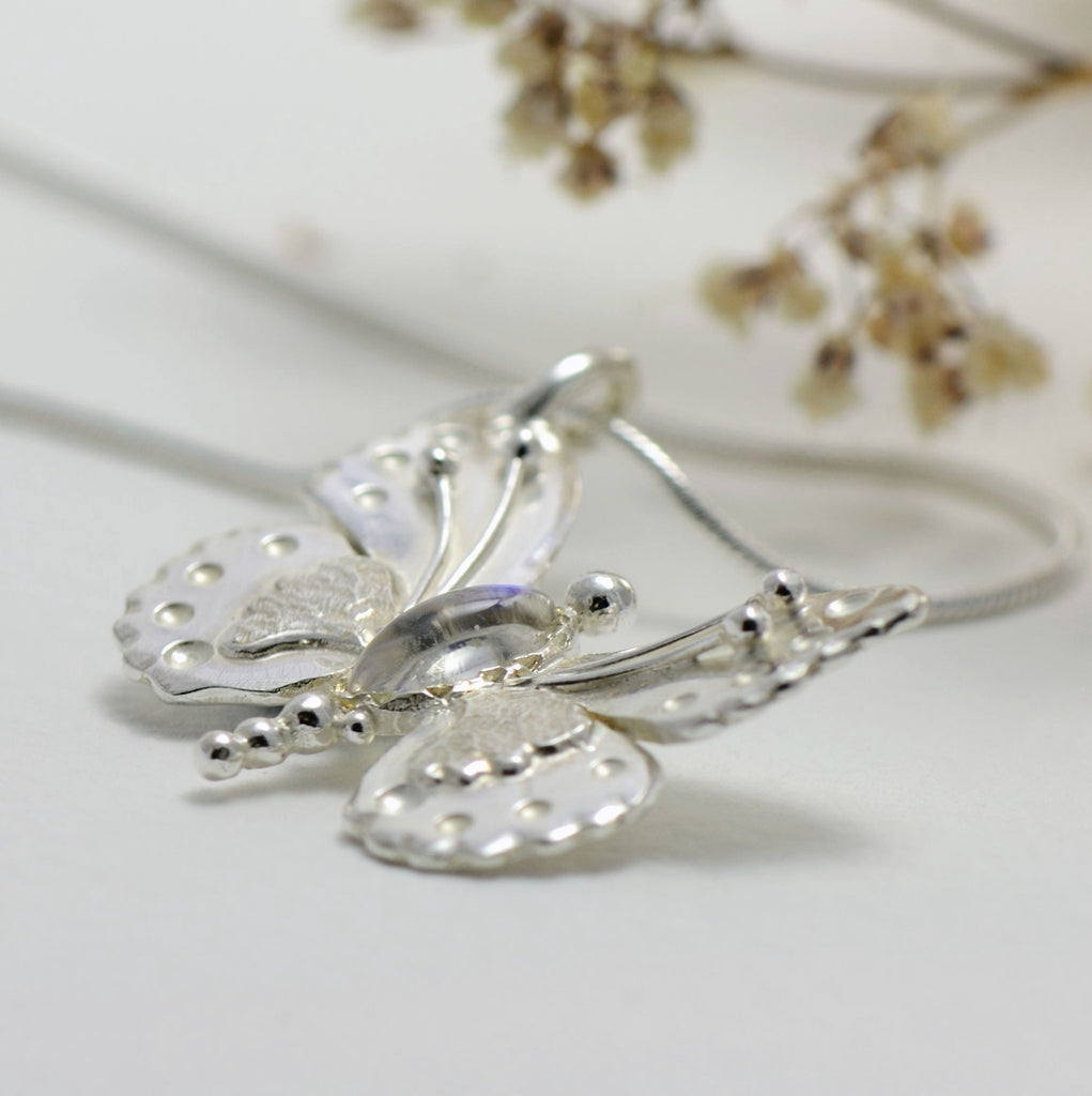 Sterling silver moonstone butterfly