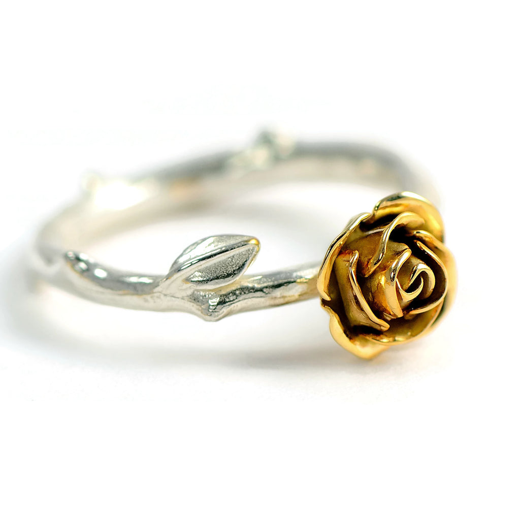 Solid yellow gold rose ring with a beautiful silver stem band ilver
