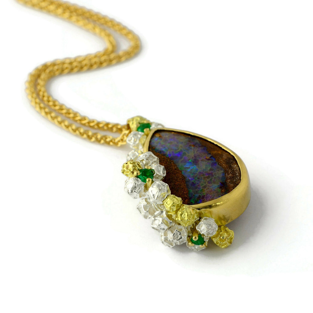 Australian opal and Colombian emerald necklace