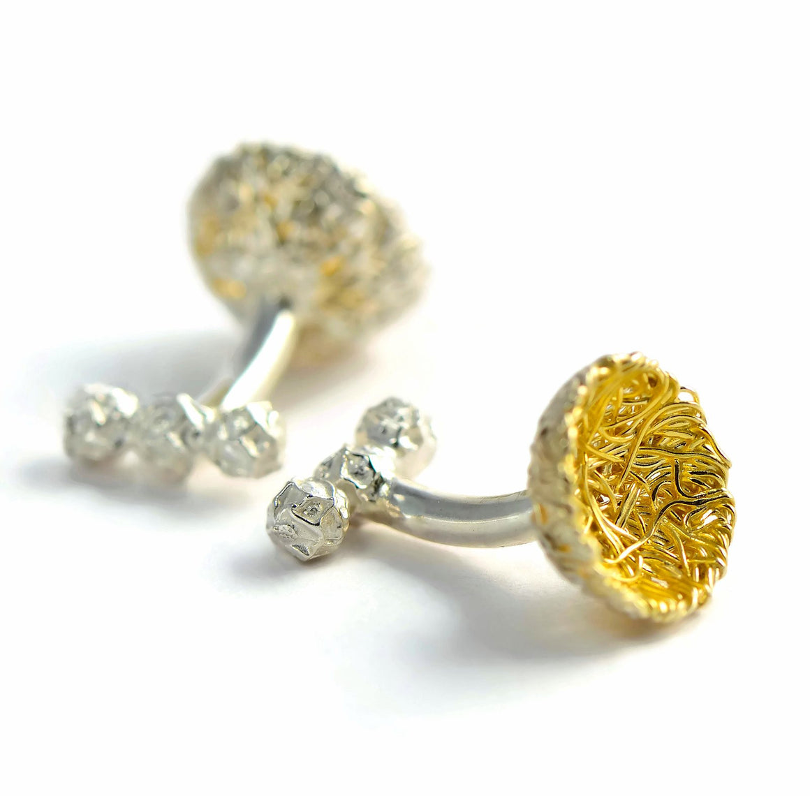 Bird's nest cufflinks, silver woven thread