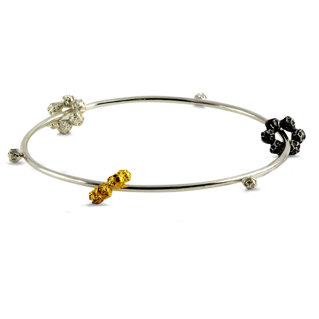 Peppercorns bangle design sterling silver and gold, Triple Peppercorns Ring